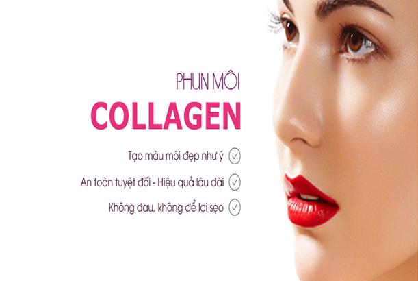 Phun môi phủ bóng collagen tế bào gốc